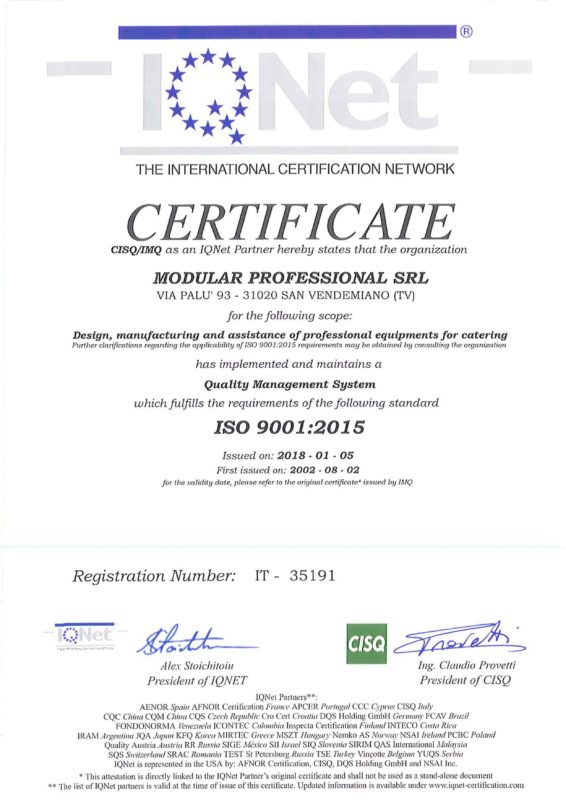 modular professional achieves the ISO 9001: 2015 certification